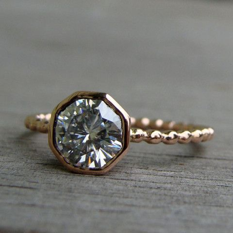 Forever Brilliant Moissanite and Recycled 14k Rose Gold Engagement or Just-Because Ring, Dotted/Beaded Band - Diamond Alternative; size 6.25