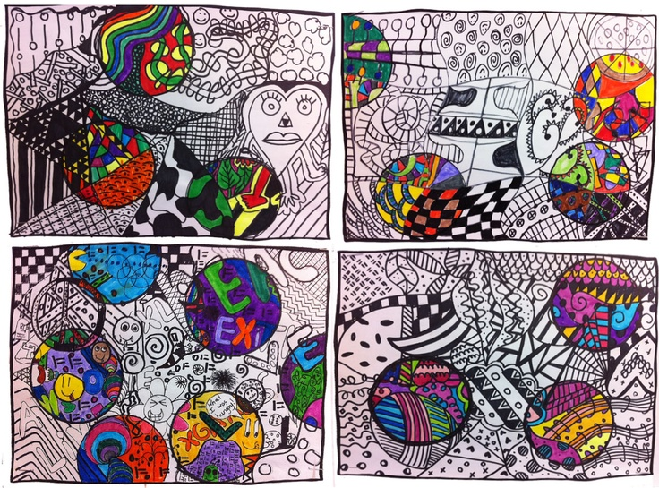 Students could basically do whatever doodles they wanted, they just had to FILL the page. When they were finished working in Sharpie, they took styrofoam cups and traced 3 (or more) circles. Anything that fell within the circle was colored in.