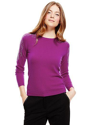 Pure Cashmere Beaded Shoulder Jumper | M&S
