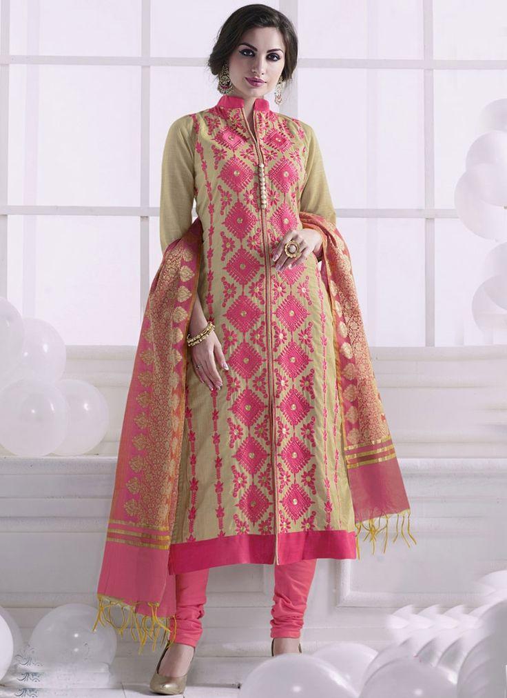Spectacular Embroidered Work Beige and Pink Cotton Churidar Designer Suit