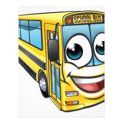 School Bus Cartoon Character Mascot Letterhead - kids kid child gift idea diy personalize design