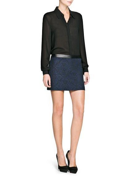 Жаккардовая мини-юбка с контрастным поясом