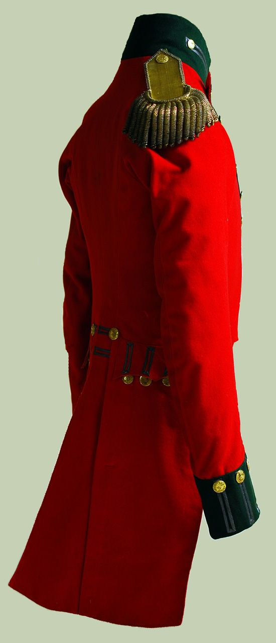 "This 49th Regiment Officer dress coat is an example of an early war pattern coat which belonged to an officer in the 49th Regiment of Foot. Also known as the ""Green Tigers,"" the regiment served with distinction during the War of 1812, participating actively in prominent battles such as the Battle of Queenston heights (1812) and the Battle of Crysler's Farm (1813). The 49th was also the home regiment of Major-General Sir Isaac Brock."