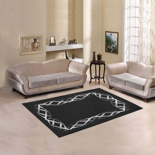 """Black & Silver Grey Twisted Metal Area Rug 5'3''x4' 