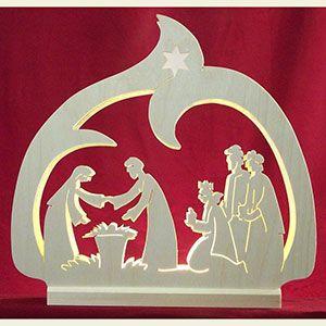 Wunderschöner Lichterbogen / Schwibbogen - LED-Leuchter Krippe  - 30x28,5x4,5cm von Michael Müller: Original Laubsägearbeiten aus dem Erzgebirge