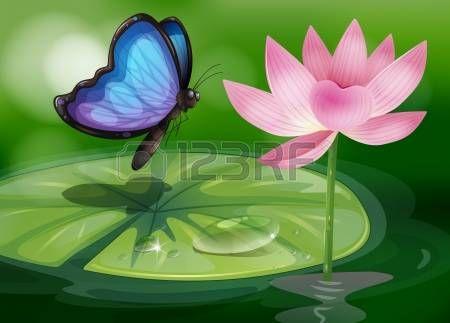 butterfly clip art: Illustrazione di una farfalla vicino al fiore rosa al laghetto Vettoriali