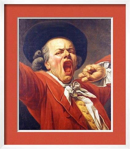 Self-Portrait as a Yawning Man, 1791 by Francois-Joseph Ducreux. Framed print from Justin Kerr's Inspiring Insider galleries on Art.com, $234.04