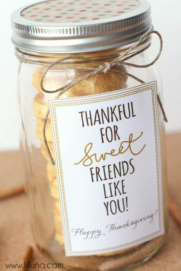 Thankful for Sweet Friends Like You Gift Idea and cookie recipe