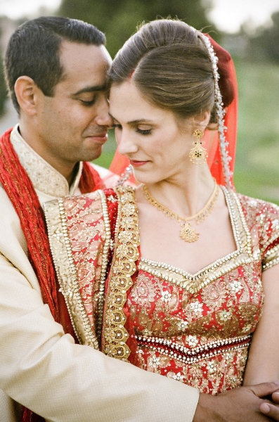 : Red Outfits, Indian Weddings, Wedding Day, Braedon Photography, Interracial Wedding, Beautiful Couple, Wedding Photo, White Dress, Bride
