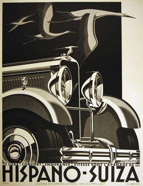 Hispano-Suiza_H6C, Affiche publicitaire.  Si, si, si, il y a pleins de reflets sur cette Hispano.