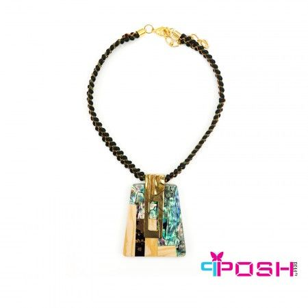 Safari Collection by POSH - Necklace with black and green rope - Centre stone uses iridescent greens and blues and earth tones   Why global Wealth Trade