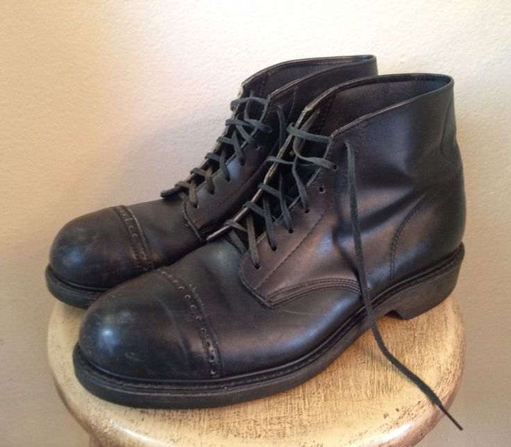 Vintage Lehigh Black Leather Cap Toe Safety Work Boots Mens 9.5 Great Condition…