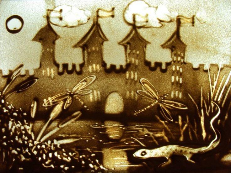 Песочная анимация картинки к сказке рисуют дети