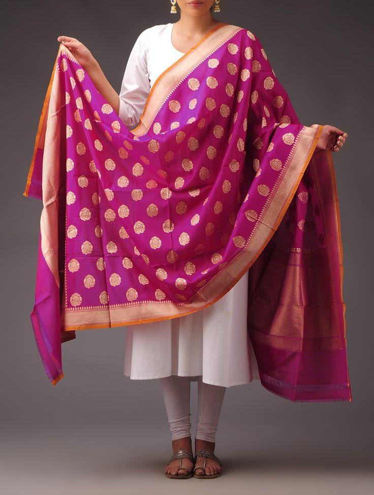 Buy Fuschia Golden Silk Georgette Booti Motif Dupatta Accessories Dupattas Kimkhab Banarasi Brocade Sarees Suit Pieces and Blouse Fabrics Online at Jaypore.com