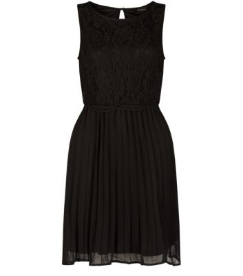 Black Lace Front Pleated Skater Dress