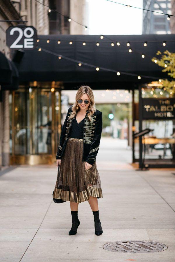 d9177c847f272 Holiday Outfit Idea: Velvet Blazer & Gold Midi Skirt | happy ...