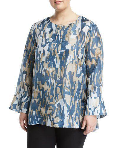 Katerine Long-Sleeve Laguna Tide Silk Blouse, Plus Size
