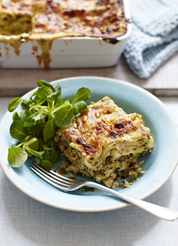 Spinach, ricotta and pesto lasagne: This creamy veggie lasagne with crunchy pinenuts is a great meat-free alternative that's so delicious, you won't miss the beef. It's also great to freeze, just take out and allow to defrost the night before.