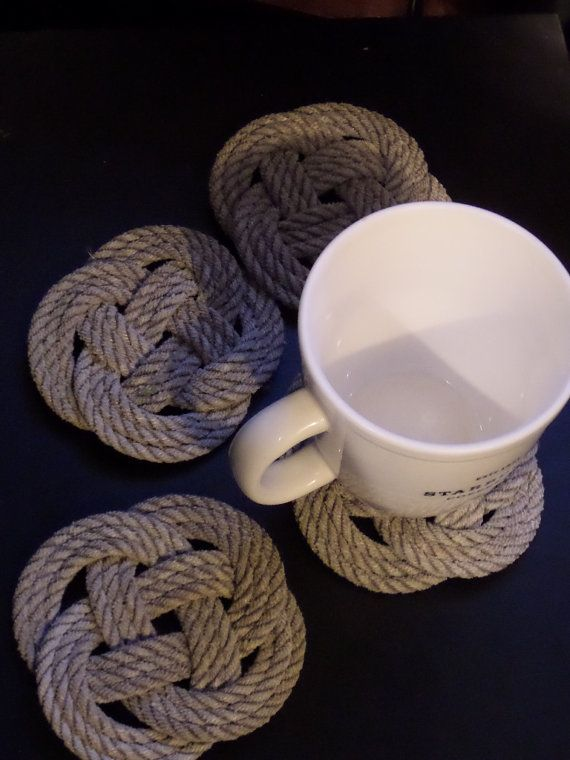 Set of 4 Rope Coasters Nautical Natural Knotted Coasters Celtic Carrick Knot on Etsy, $25.00