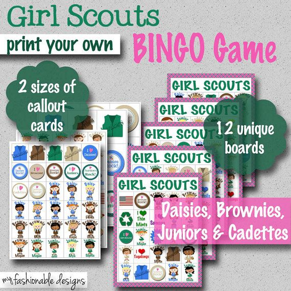 Girl Scouts BINGO Game  Print Your Own by MyFashionableDesigns, $7.00