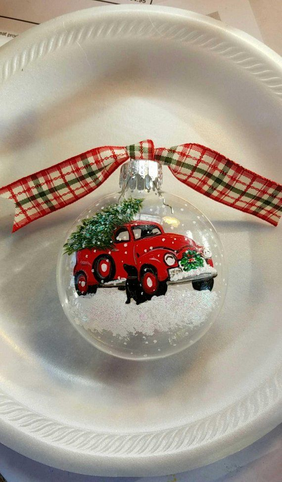 Vintage Red Truck Ornament Christmas Tree Ornament Black Etsy In 2020 Christmas Ornaments Christmas Tree Drawing Painted Christmas Ornaments