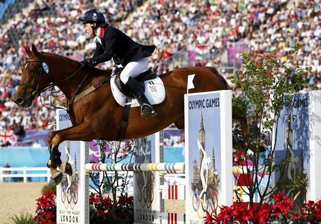 Britain's Samantha Murray competes in the horse-riding event of the women's modern pentathlon.