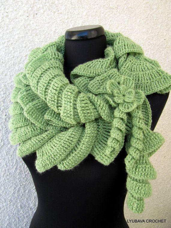 Crochet Ruffle Scarf Pattern Ruffle Scarf With by LyubavaCrochet
