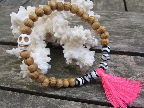Boho bracelet/Zebra agate bracelet/summer bracelet/Skull