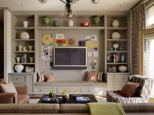 contemporary family room by Jeffers Design Group - thinking of this look for the blue (guest) room.