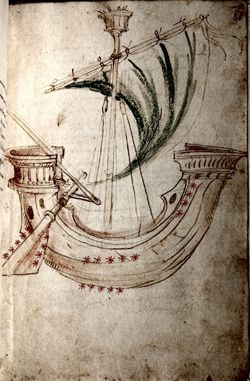 Drawing of the Argo from a medieval manuscript. Ship of Jason and the Golden Fleece.
