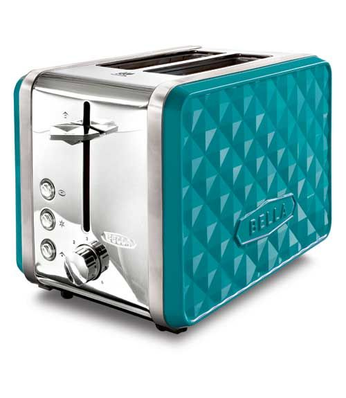 The dazzling Bella Diamonds Collection ($25-$70, bellaappliances.com) shines bright in turquoise, orange, white, and more. Complete with toasters, coffeemakers, and slow cookers, this sophisticated-looking line of kitchen appliances is one you'll actually want to display on your countertop.  - GoodHousekeeping.com