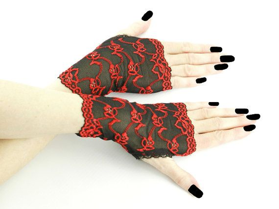 Women's black and red short fingerless mittens by FashionForWomen