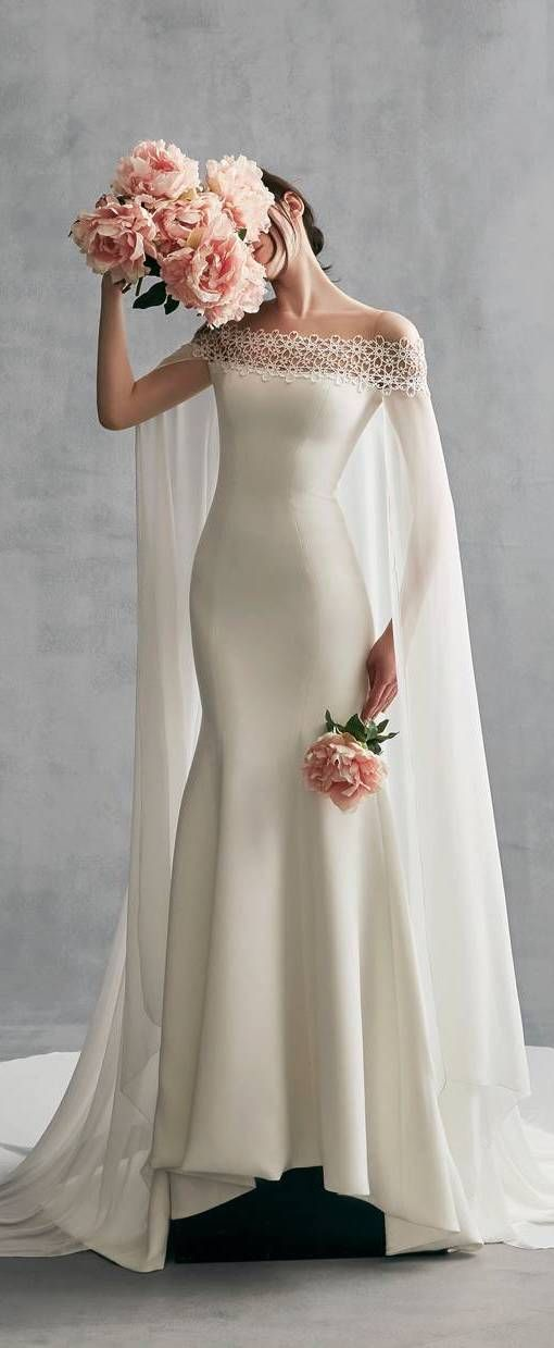 Simple Off-the-Shoulder Lace Satin Mermaid Wedding Dress With Watteau Train