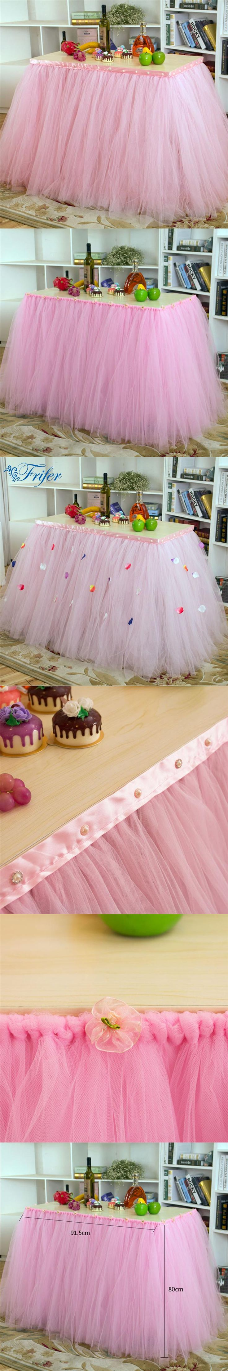 High Quality Parties Tulle Table Skirt Baby Shower Decor Fantastic Wonderland Decorative Table Skirting for Wedding 91.5*80cm