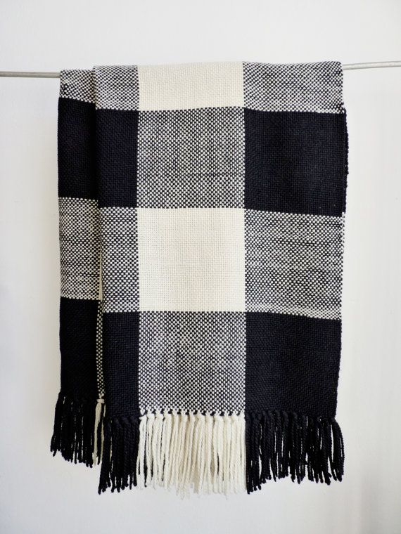 Plaid wool throw blanket Checkerboard Merino Wool Sofa Blanket, Large plaid blanket scarf, Tartan handwoven black white rug by TexturableDecor