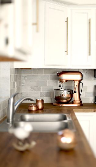Incorporate kitchen appliances, like this beautiful copper mixer, into your kitchen's decor | Kitchen Aid