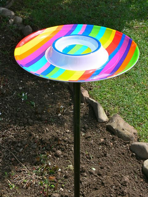 DIY ~ Bird Bath....Made from a piece of pipe..and chip 'n dip tray ~ I  want to use pvc pipe I paint for the stand....I see these trays every where and they are cheap ~