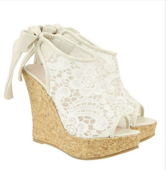 White Lace Wedges. these would be so cute without the bow and a white dress! i want them.