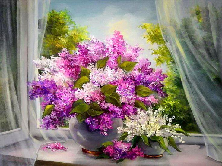 Mor bahar çiçekleri kanvas tablo DR ÇÇK8899-2