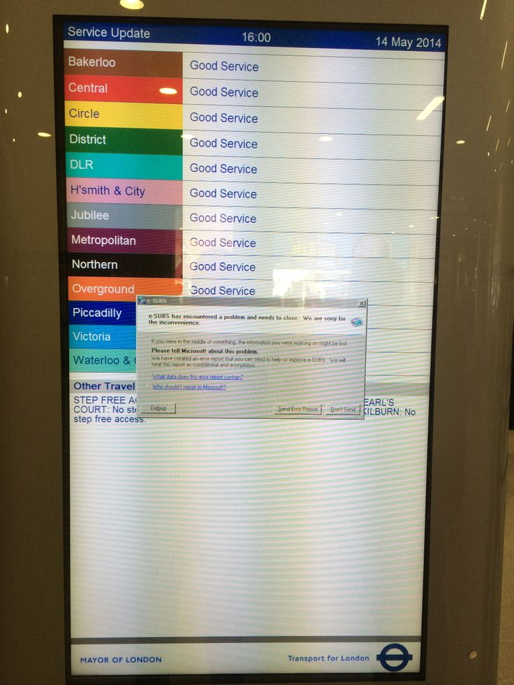 "Stratford station, London. Window dialog box  ""e-SUBS has encountered a problem and needs to close"""