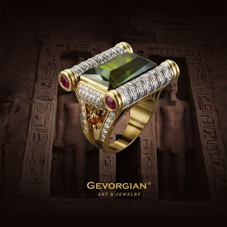 """Ring """"Pharaoh's Secret"""" Exterior appearance of this ring resembles us at once the puzzles of Ancient Egypt. Secrets of pyramids and sphinxes, not yet disclosed, but so attractable, look like as though they were recorded on these ancient scrolls. And the green tourmaline, a stone of spiritual development and concentration, promises a prompt solution of the different secrets."""