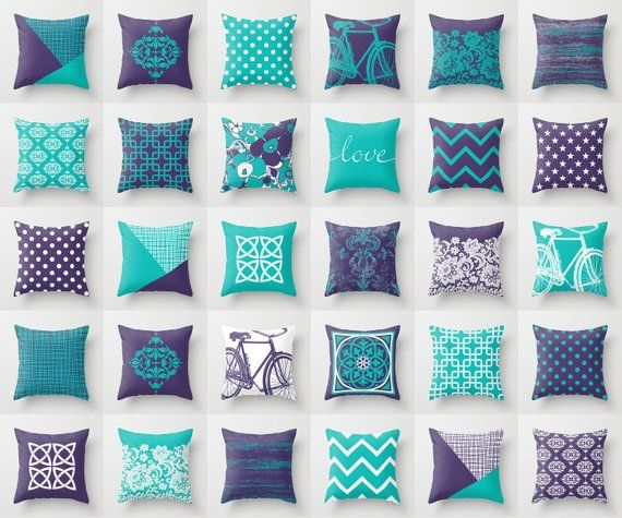 Purple White Blue Throw Pillow Mix And Match Indoor Outdoor Cushion Cover Accent Couch Sofa Turquoise Teal Aqua Green Ocean Caribbean Cyan Blue Throw Pillows Brown Living Room Decor Brown Throw