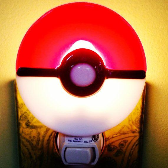 Pokemon Night Light Fused Glass Pokeball by MineByDesignStudio, $20.00