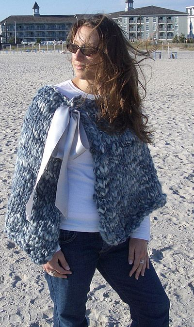 Knitted cozy cape! I started this today!! Using not so chunky yarn. Can't wait till I'm done!!