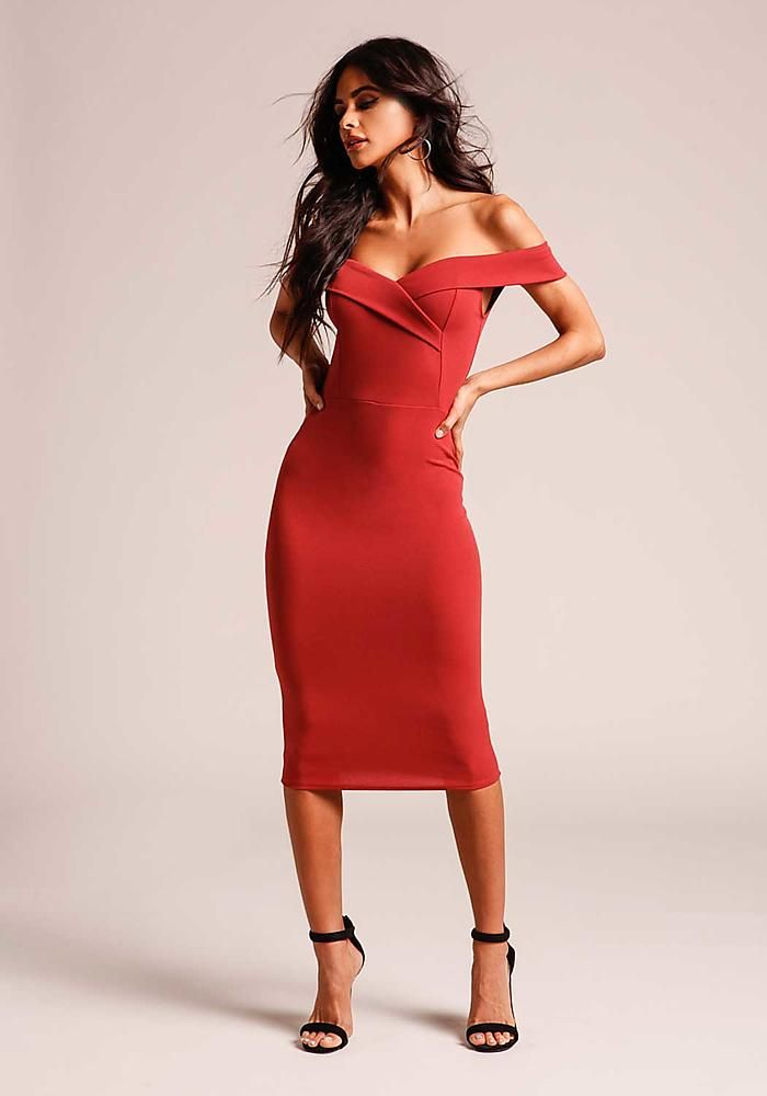 b9e2dae9ff99 Rust Off Shoulder Bodycon Dress - Off Shoulder - Dresses