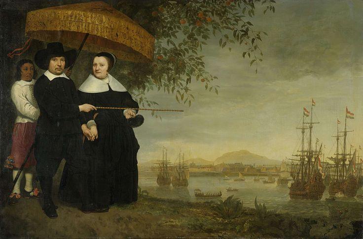 Een opperkoopman van de VOC, vermoedelijk Jacob Mathieusen en zijn vrouw. Nura Elsheikh vindt dit schilderij mooi omdat je een duidelijk kan zien dat het een koopman is en omdat je de schepen op de achtergrond ziet die heel mooi zijn geschilderd.