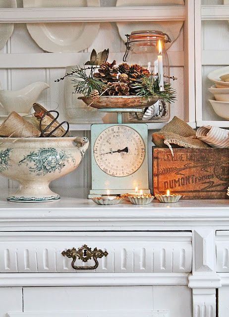 Vintage farmhouse styling. Love these scales!                                                                                                                                                                                 More