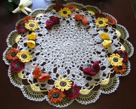Brand new crochet doily with sunflowers and butteflies- holiday doily