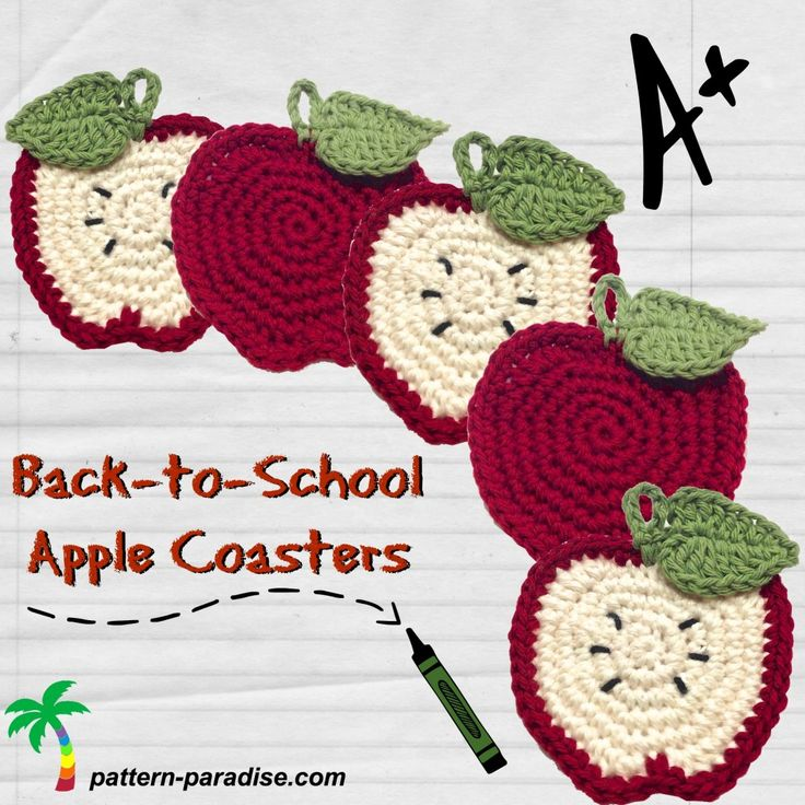 Back to school Apple Coasters - Free Crochet pattern