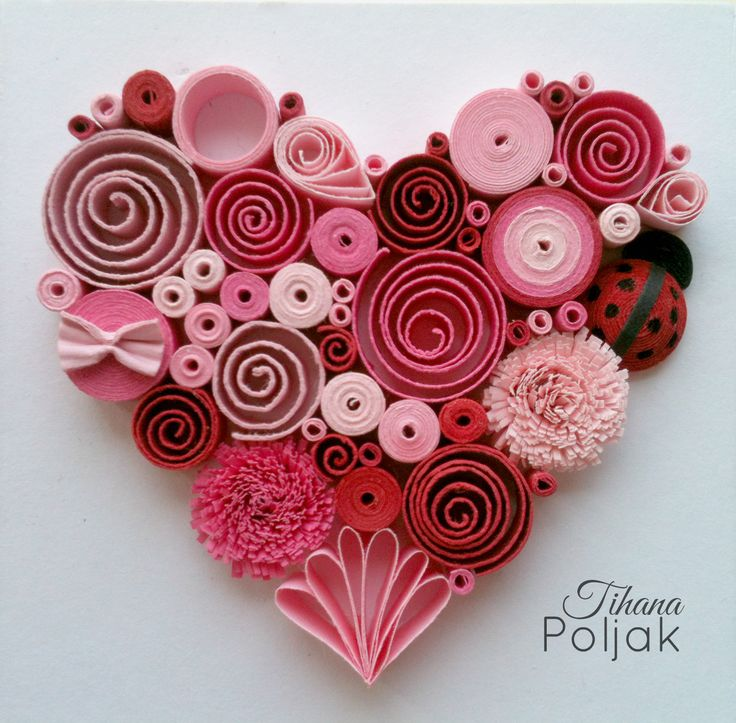 Quilled heart, quilling red rose heart, love quilling, quilled Ladybug…